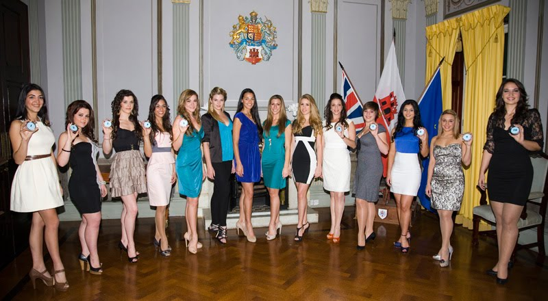 Photos of Miss Gibraltar 2011 contestants with Miss World 2009 Kaiane and last year's winners