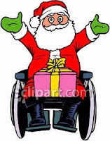 Cartoon of Santa Claus in a wheelchair