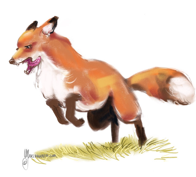 Fox painting by Artmagenta