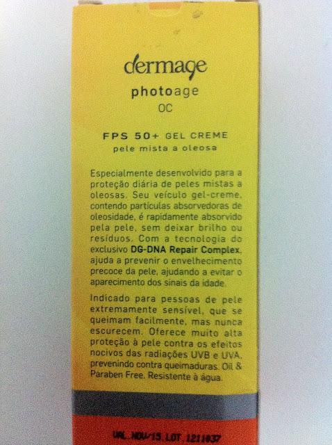 protetor solar, FPS 50, Dermage, Photoage OC, pele, oleosa, oil free