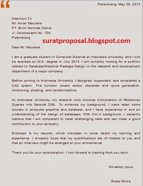 Contoh Surat Lamaran Kerja Bahasa Inggris Posisi Pemrograman Database
