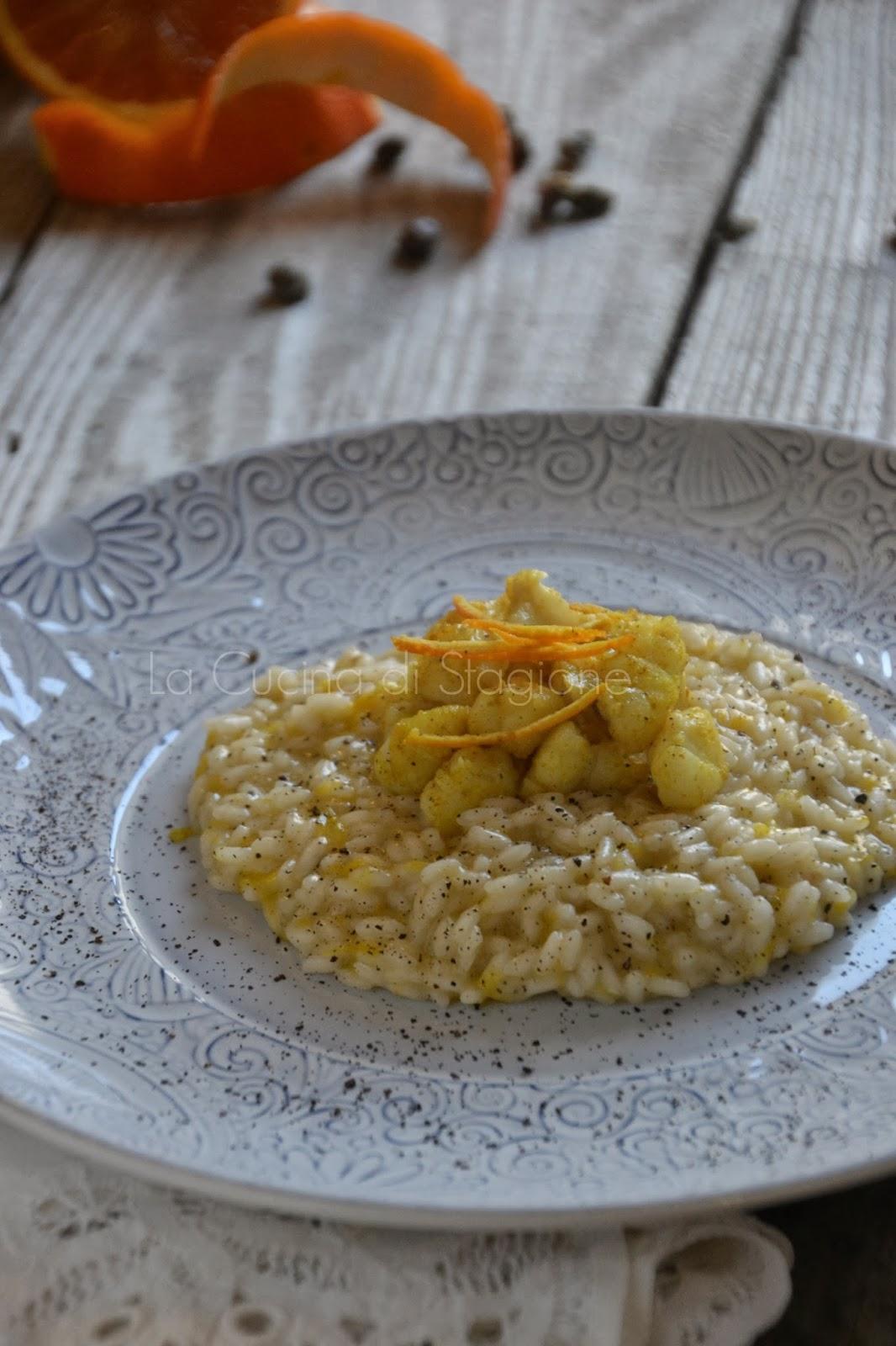 La cucina di stagione risotto agli agrumi polvere di for Cucinare rana pescatrice