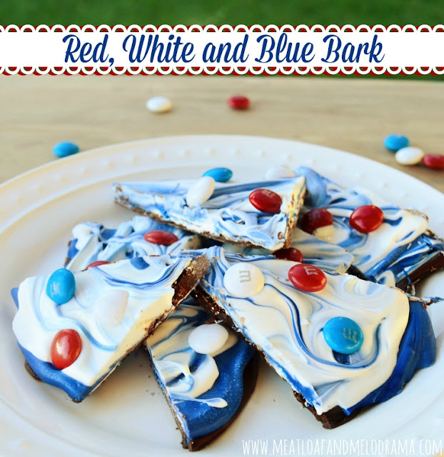 patriotic bark made with candy melts, m and m's and chocolate