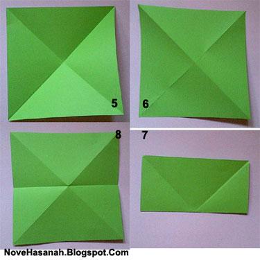 melipat bentuk awal origami kodok loncat