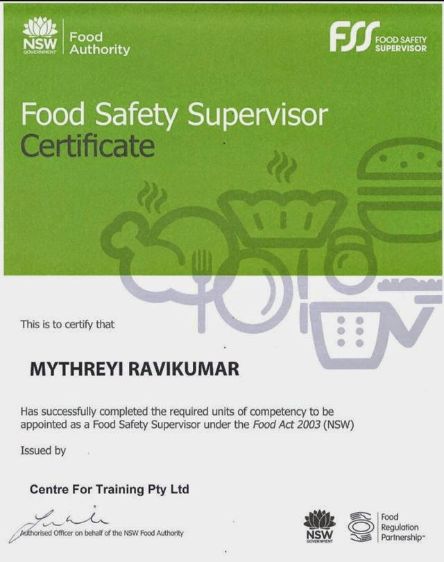 Certified Food Safety Supervisor, NSW.