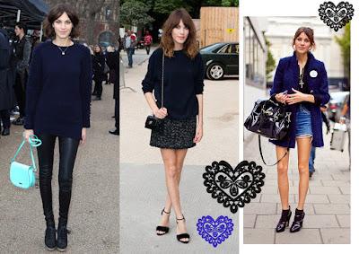 Alexa Chung looks con azul marino y negro