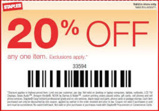 Staples coupon june 2018