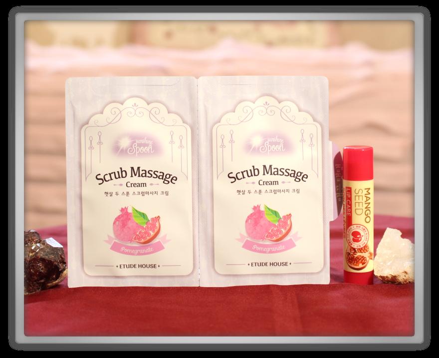 겟잇뷰티박스 by 미미박스 memebox beautybox Superbox #40 Pomegranate unboxing review the face shop mango seed lip care etude house scrub massage cream