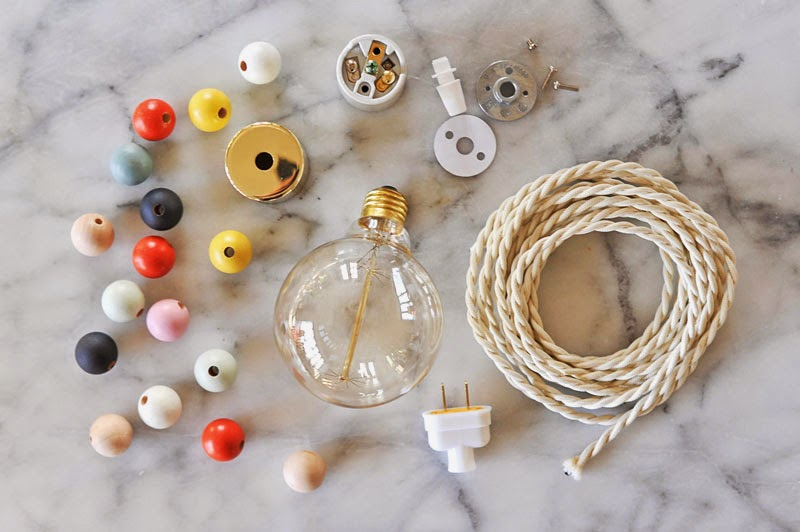 DIY Wooden Bead Pendant Light Materials