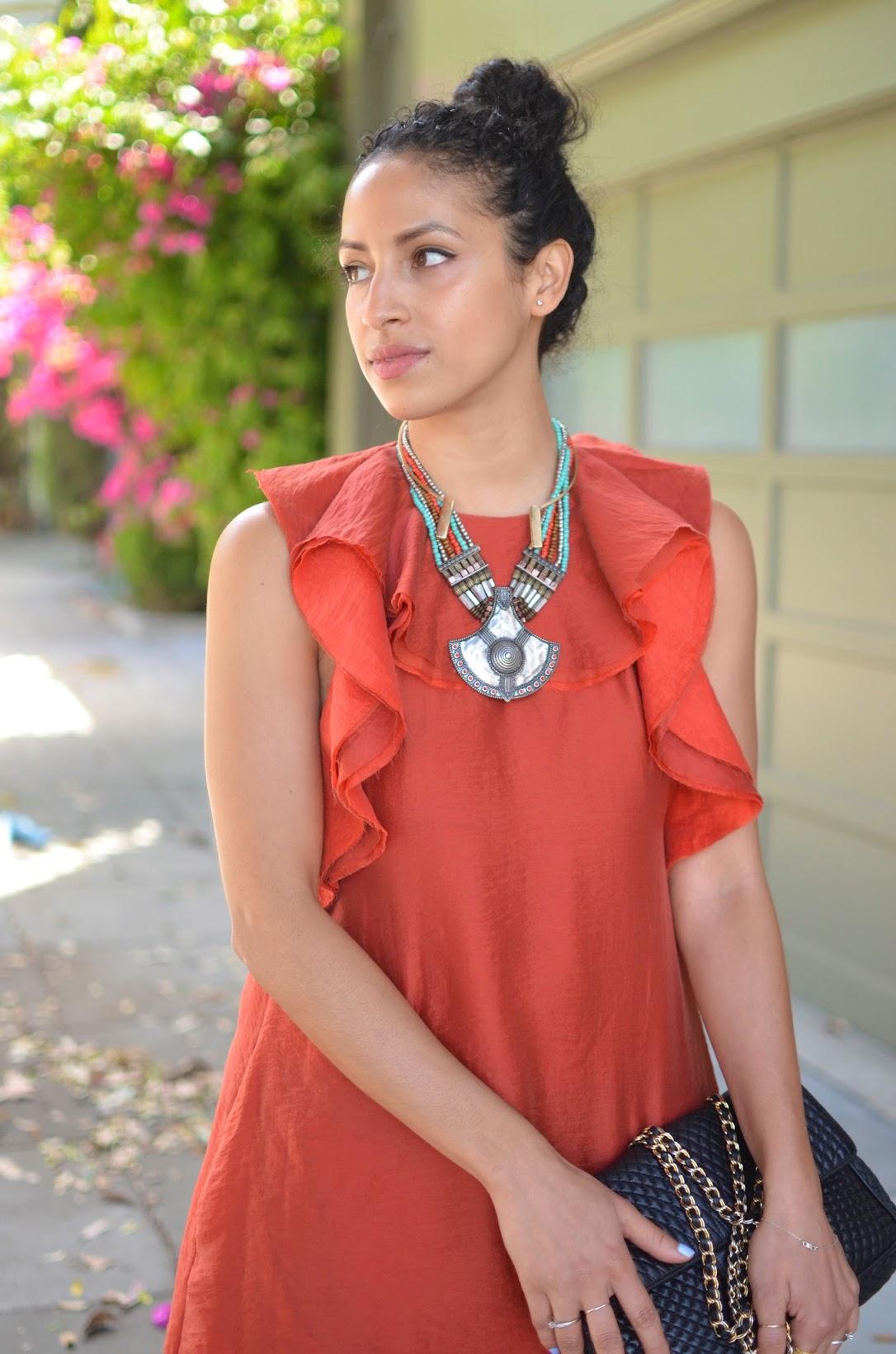 ruffle dress, orange ruffle H&M dress, conscious collection, H&M conscious collection ruffle dress, transitional dressing, autumn hues, H&M, Sophia Webster Coco Flamingo heels, Bally Chain bag