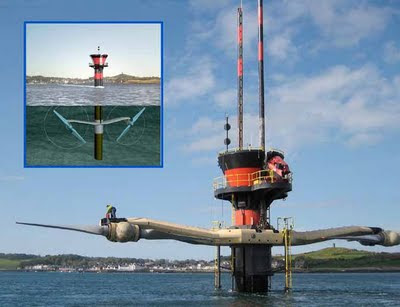 Marine Current Turbines (MCT)'s first-generation tidal device, currently being tested in Strangford Lough