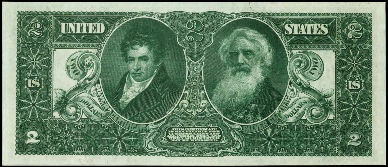 US paper money 2 dollars Silver Certificate Educational Fulton Morse 1896