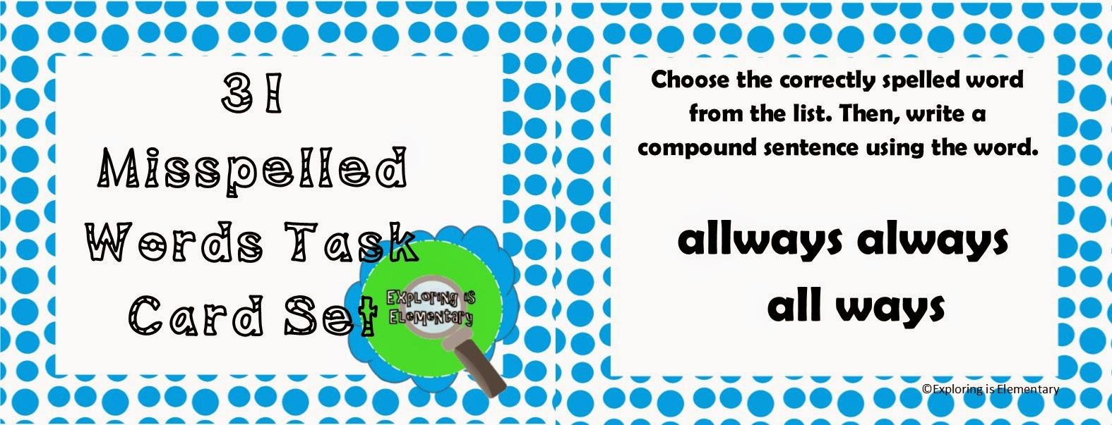 31 Misspelled Words Task Card Set