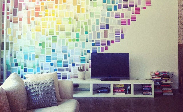 30 Awesome DIY Projects that You've Never Heard of - Paint Swatch Wall
