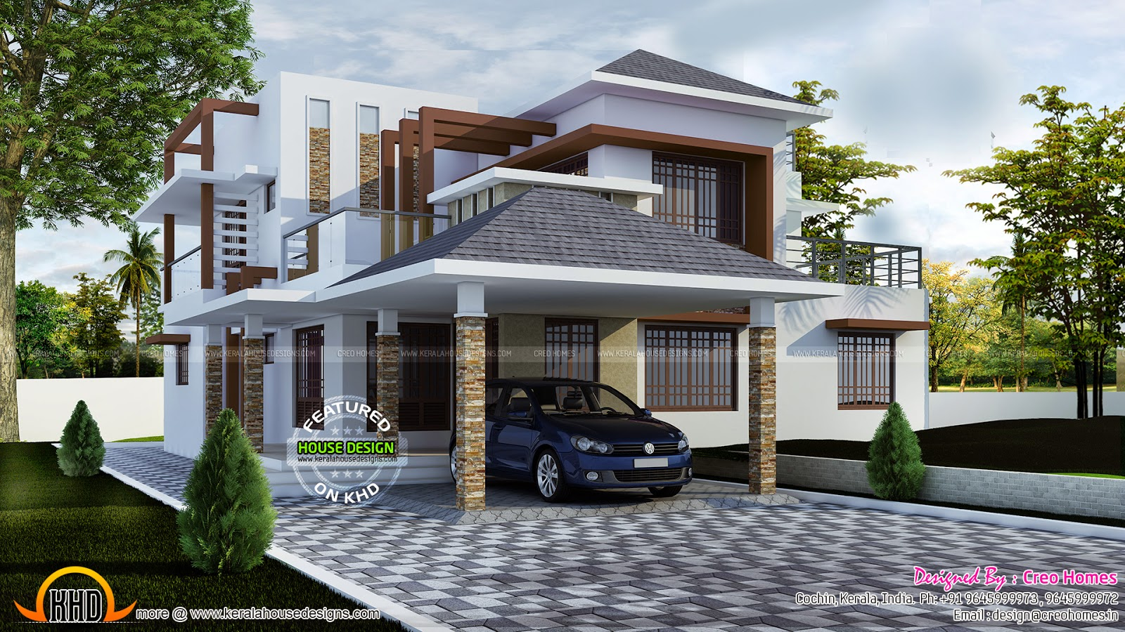 2934 sq ft beautiful villa kerala home design and floor for Beautiful villa design