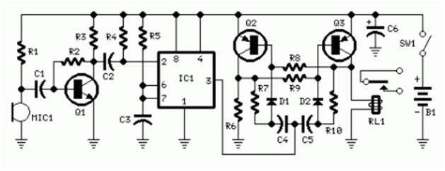 rangkaian aplikasi sensor  rangkaian relay tepuk tangan