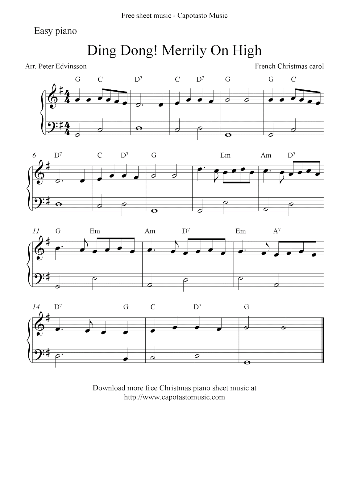 Free christmas sheet music for easy piano ding dong merrily on high