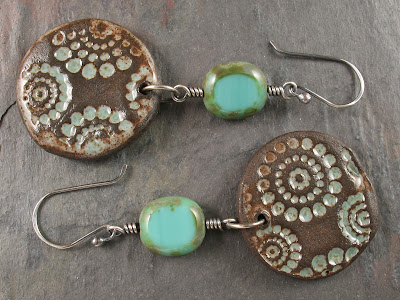Turquoise Window Cut Czech Glass Beads With Sterling Silver
