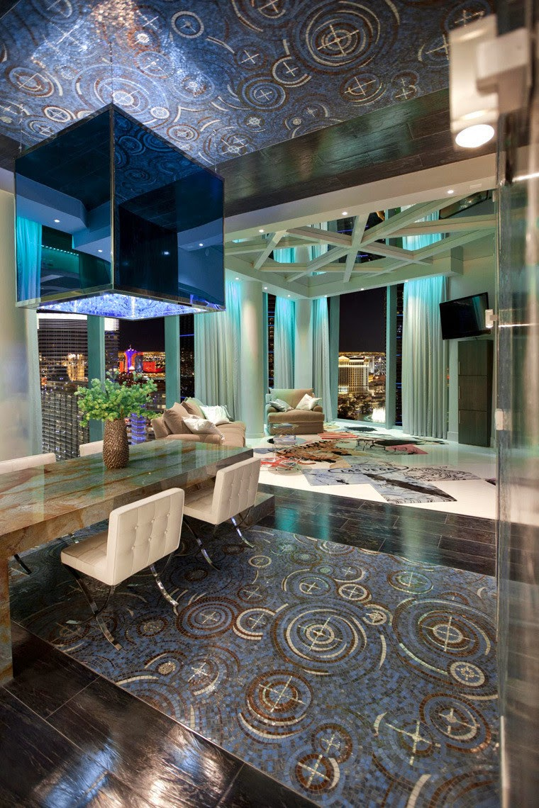 penthouse club design home nightclub Chemical Spaces, ceiling and floor mosaic tiles