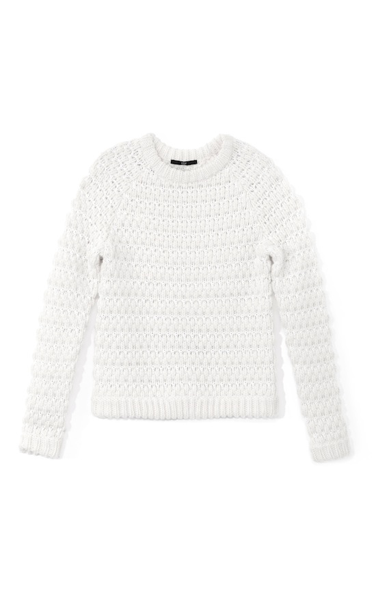 Tibi Winter White Honeycomb Sweater Runway Look 29 Fall 2013 Moda Operandi