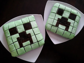 Minecraft party, Creeper cake