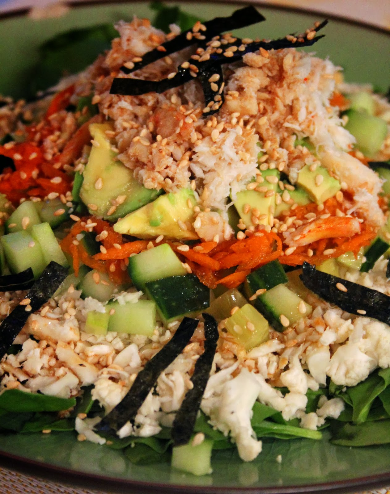 Jo and Sue: California Roll Sushi Salad With Wasabi Soy Sauce Dressing