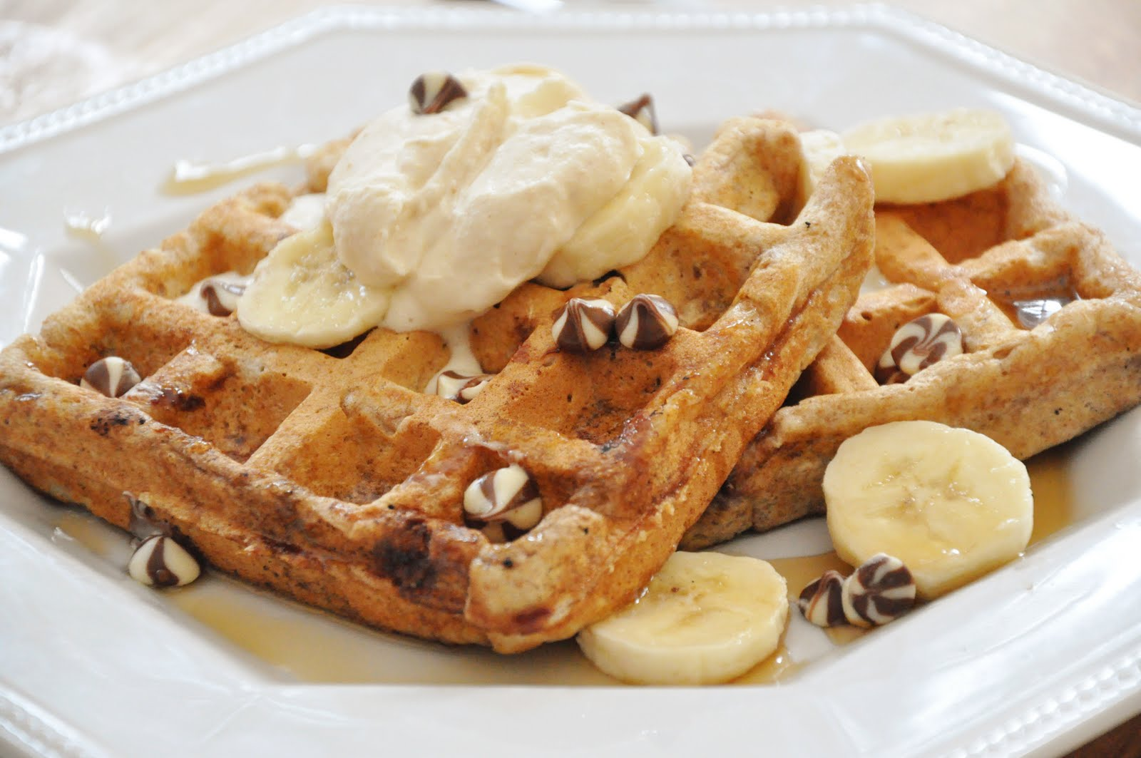 Whole Wheat Banana Chocolate Chip Waffles — Living Lou