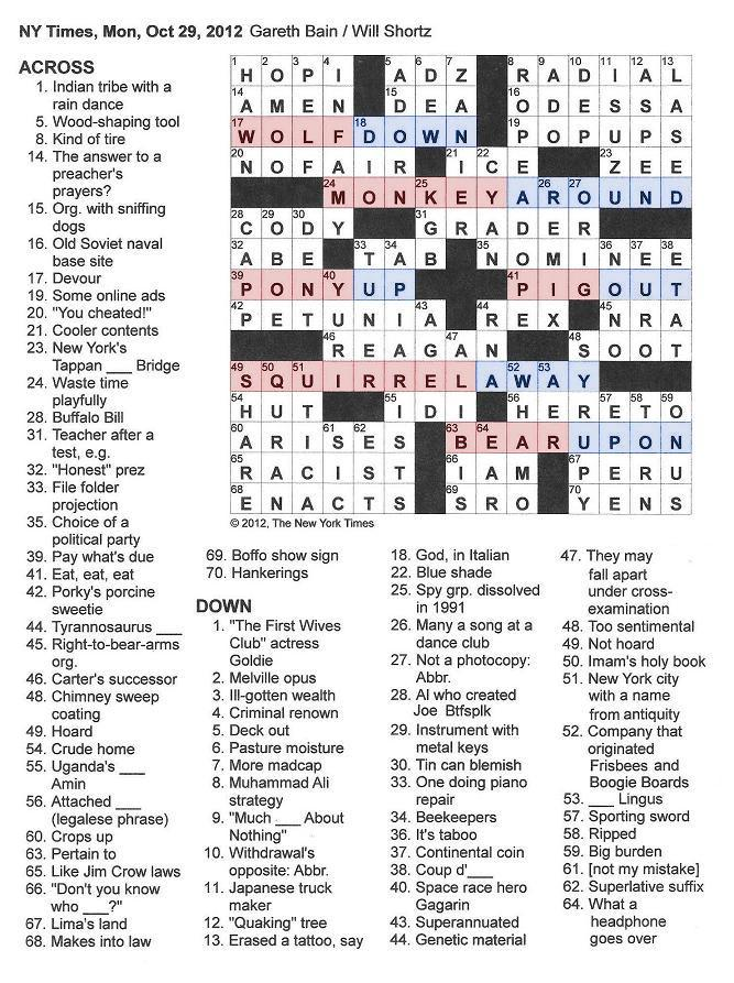 The New York Times Crossword in Gothic: October 2012