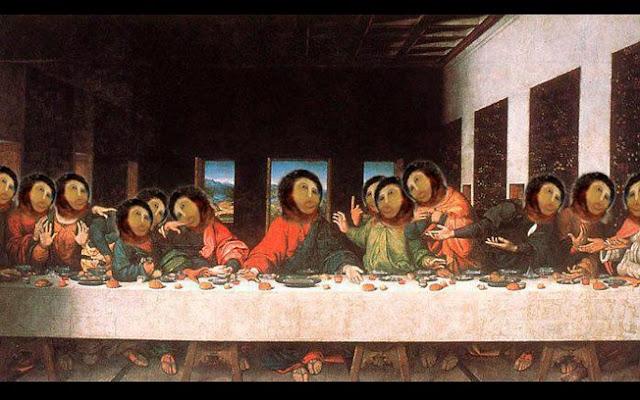 Montagens feitas com a restauração que Cecilia Giménez fez no Cristo de Borja