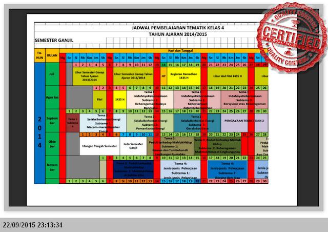 CONTOH FORMAT JADWAL PEMBELAJARAN KELAS 1, 2, 4, 5 KURIKULUM 2013 EXCEL