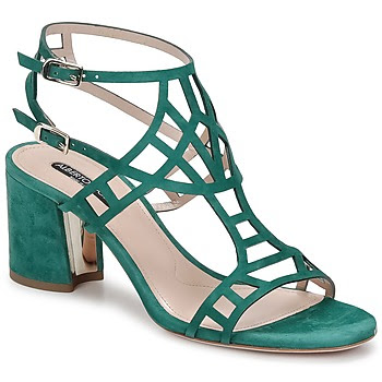 Strappy green suede sandals