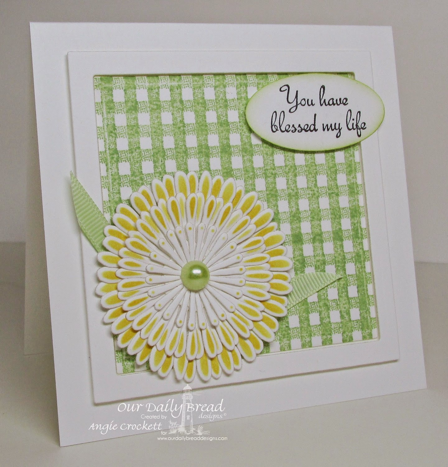 ODBD Gingham Background, Rose, ODBD Custom Asters and Leaves Die Set, Card Designer Angie Crockett
