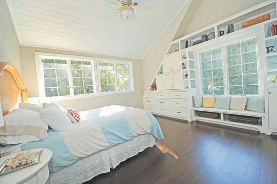 Master bedroom -- bamboo floors, custom built-its