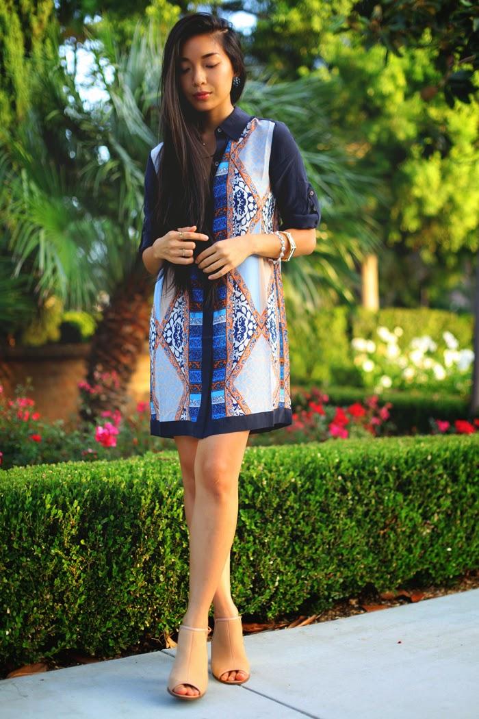 Stephanie Liu of Honey & Silk is wearing Club Monaco Crisanta Dress, CC Skye Monaco Bangle and Pave Princess Bracelet, and Kelsi Dagger heels.