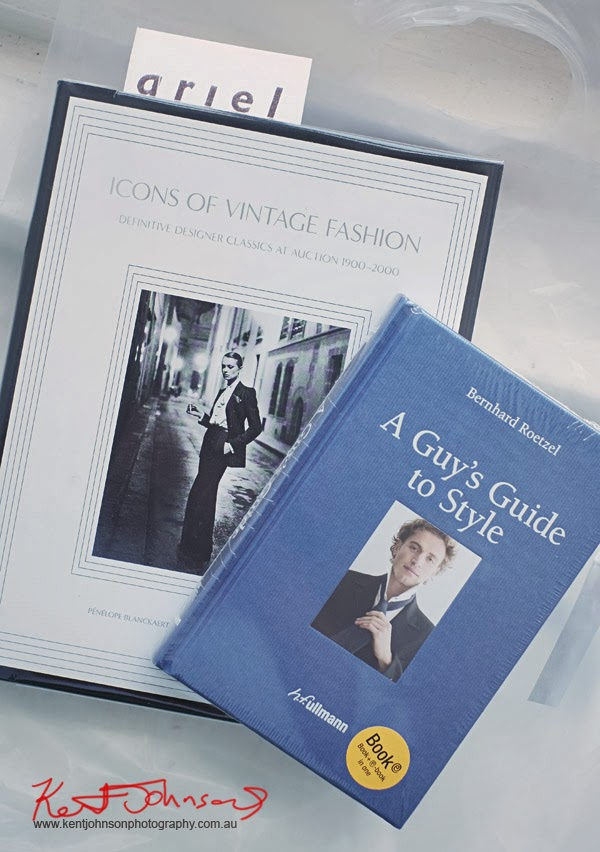 A Guys Guide to Style by Bernhard Roetzel, Pub - hf Ullmann Icons of Vintage Fashion - Definitive Designer Classics at Auction 1900-2000, By Pénélope Blanckaert and Angèle Rincheval Hernu, Pub - Abrams closed cover shot.
