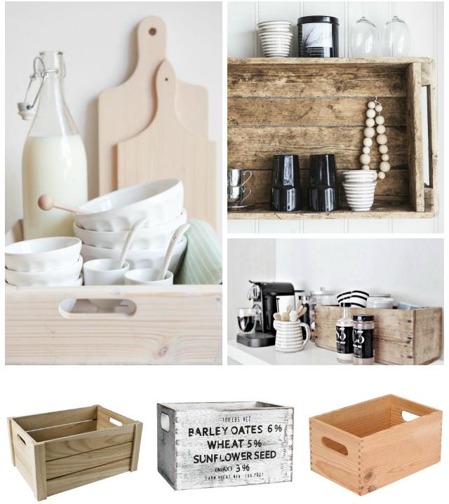 cajas de madera en la cocina para ordenar
