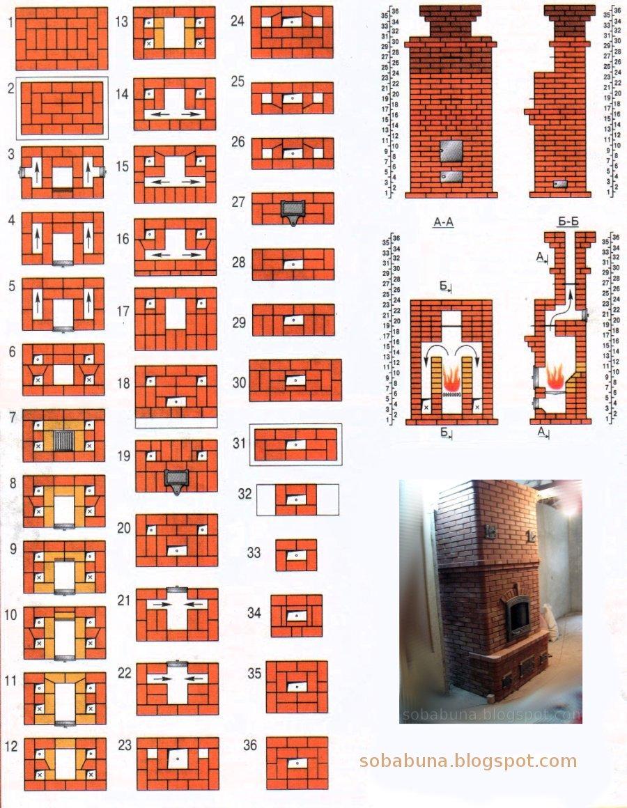Печь для дачи отопительная из кирпича чертежи