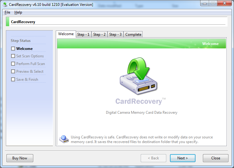 CardRecovery start screen