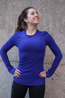 lululemon back on track long sleeve running top in pigment blue