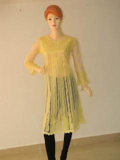 Lucknowi Chikan Yellow Georgette Frock Style Kurta