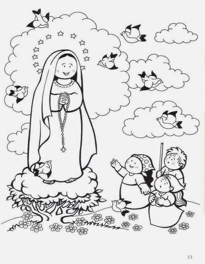 PARA COLOREAR: Virgen de Fátima para colorear