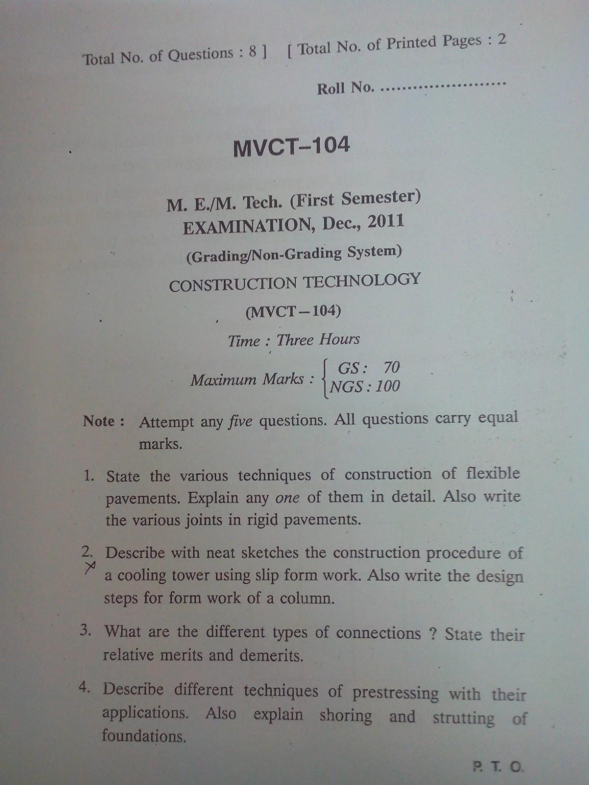 Rgpv m tech ctm i sem question paper for Rgpv timetable 7th sem 2015