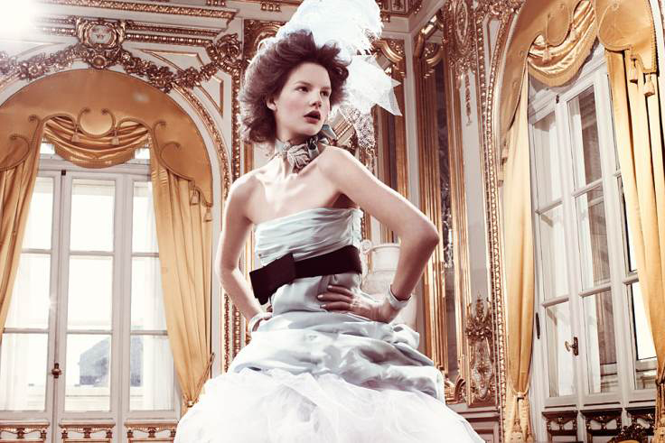 via fashioned by love | Marie Antoinette inspired fashion editorial | Elle Sweden August 2008 (photography: Jimmy Backius, styling: Cia Jansson, Lisa Lindqwister & Jenny Fredriksson)