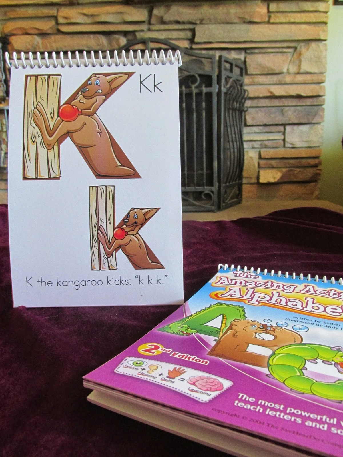 K the kangaroo page from Amazing Action Alphabet Flip Chart