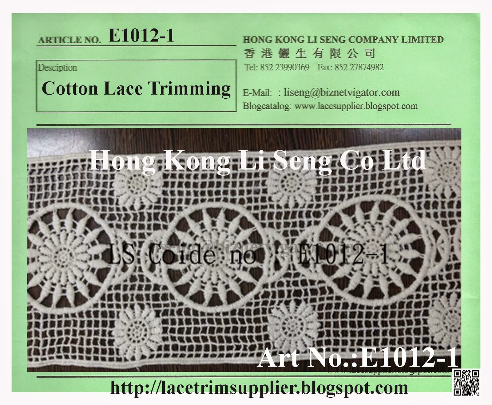 Embroidered Cotton Lace Trimming Manufacturer Wholesale and Supplier - Hong Kong Li Seng Co Ltd