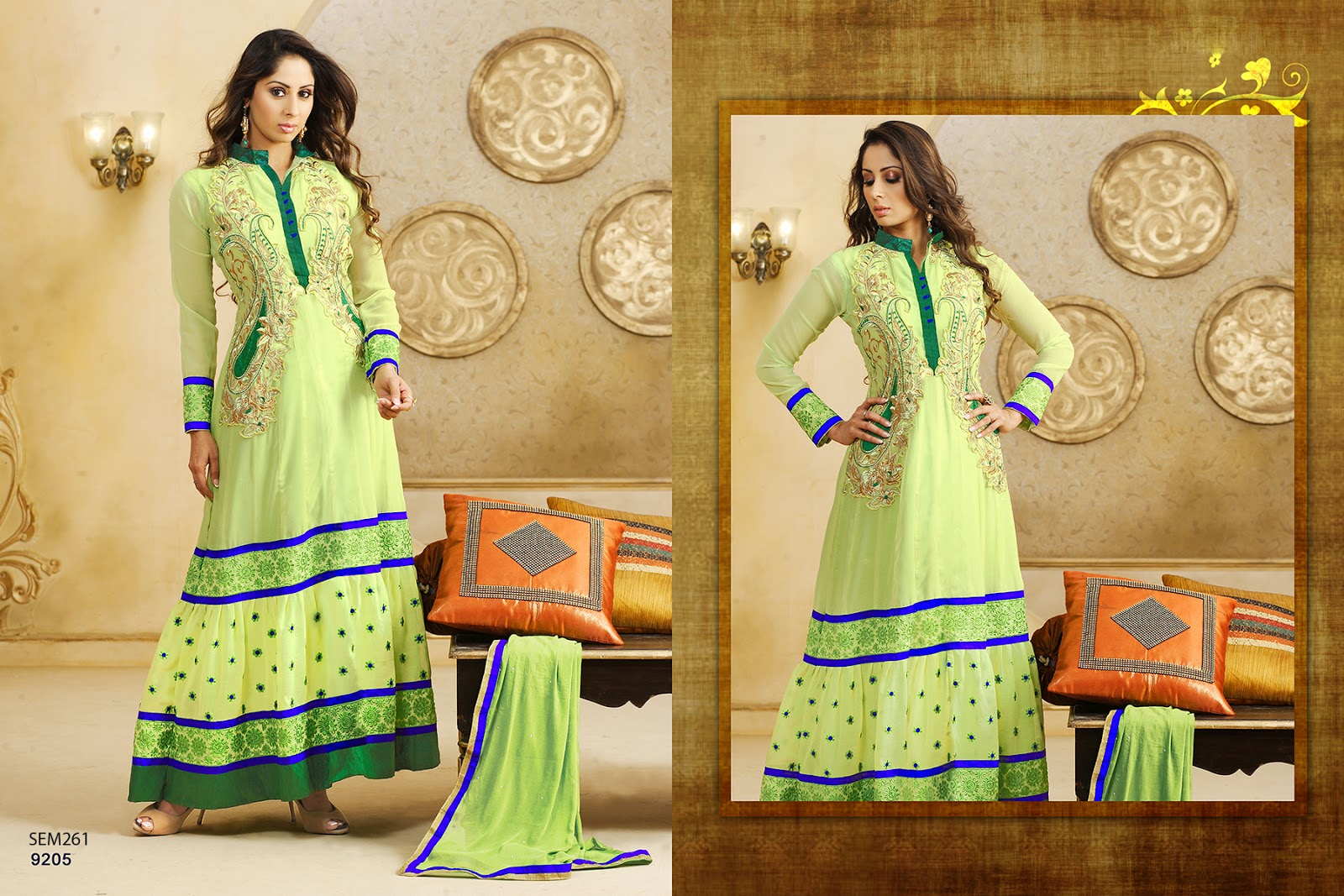 Sangeeta ghosh georgette embroidered floor length anarkali for Floor length kurti