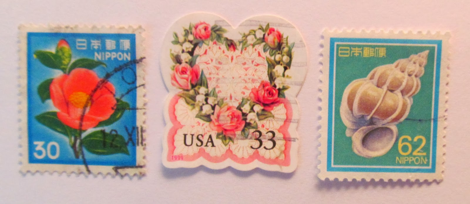Pretty postage stamps for use in crafting