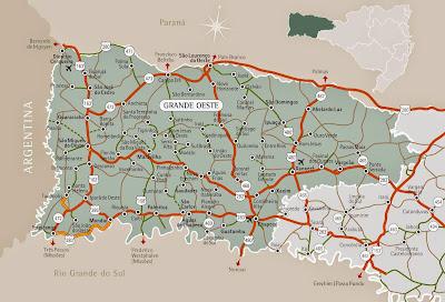 Mapa da rerião de Chapecó e Oeste de Santa Catarina