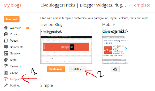 Blogger Template > edit > html