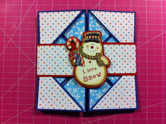 napkin-fold-card-snow-man-sparkle-cute-winter